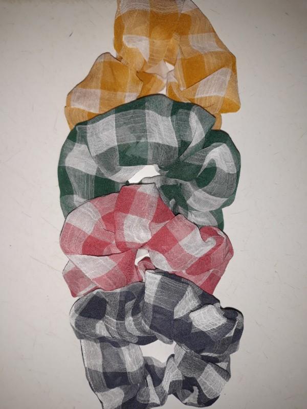 Scrunchies/Dây buộc tóc vải Caro voan cao cấp