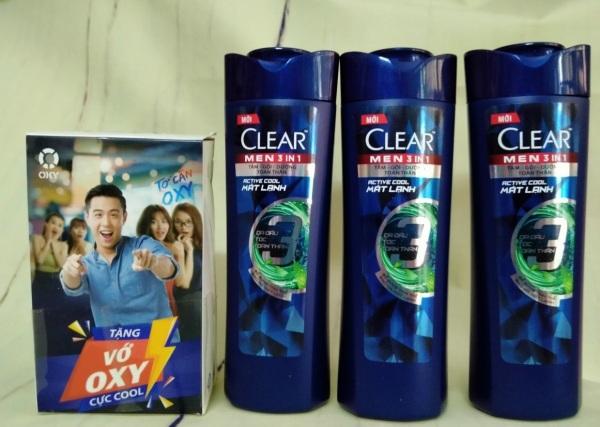 Combo 3 Dầu Tắm Gội Clear Men 3 Trong 1 - Active Cool Mát Lạnh (70g) 70g, Tặng 1 Vớ Nam Oxy nhập khẩu