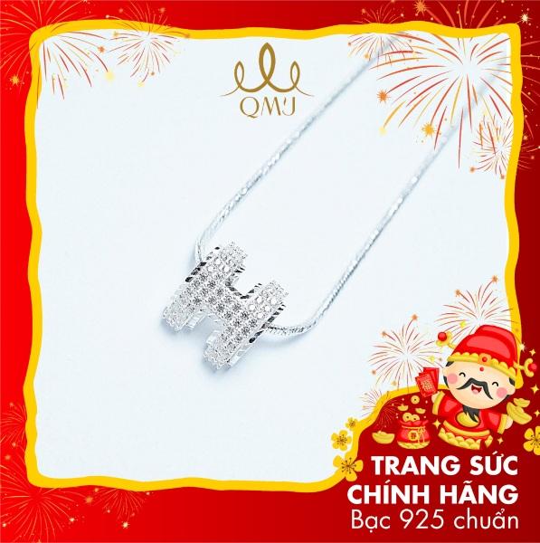 QMJ Dây chuyền bạc 925 cao cấp chữ H vip  móc máy viền sáng lấp lánh thu hút ánh nhìn các cô gái vòng cổ thời trang nữ đẹp bạc chuẩn - Q133