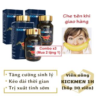 Combo x3 (Mua 2 tặng 1) Viên KICHMEN 1H (hộp 30 viên) cao cấp tăng cường sinh lý nam mạnh mẽ - hàng chính hãng thumbnail