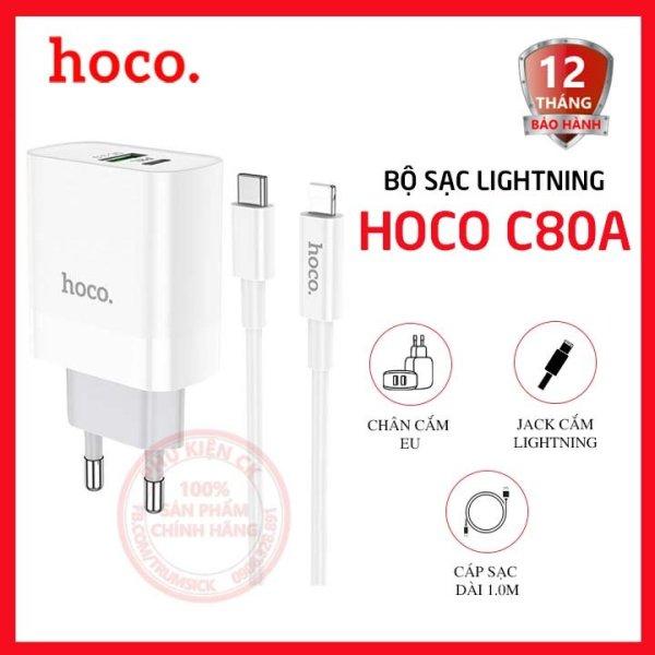 Bộ sạc nhanh Hoco C80A 1 cổng USB + 1 cổng Type-C 3.1A QC3.0 20W kèm cáp Lightning dài 1.0m