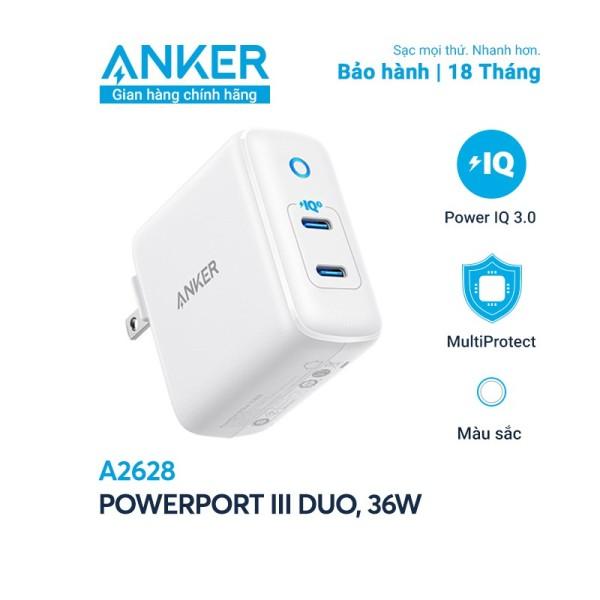 Sạc Anker PowerPort III Duo 36W (2 PIQ 3.0) - A2628 Bảo hành 18 tháng Anker Việt Nam