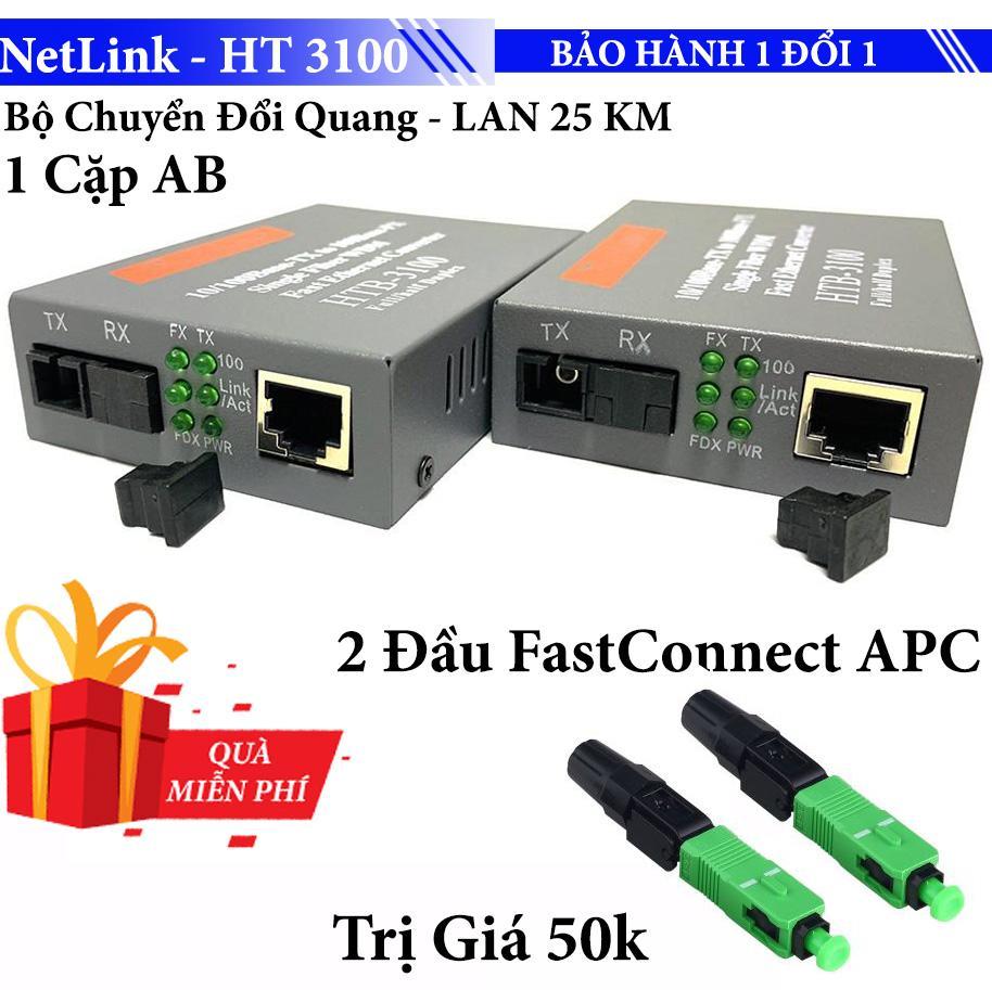 Giá Bộ chuyển đổi Cáp Quang sang LAN RJ45 HT 3100AB - 25KM convert quang single mode 10/100Mbs
