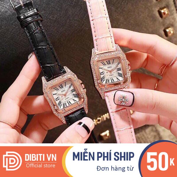 Đồng hồ thời trang nữ DZG D155 mặt vuông đính đá chạy 3 kim xinh xắn dây da cao cấp chống nước nhẹ