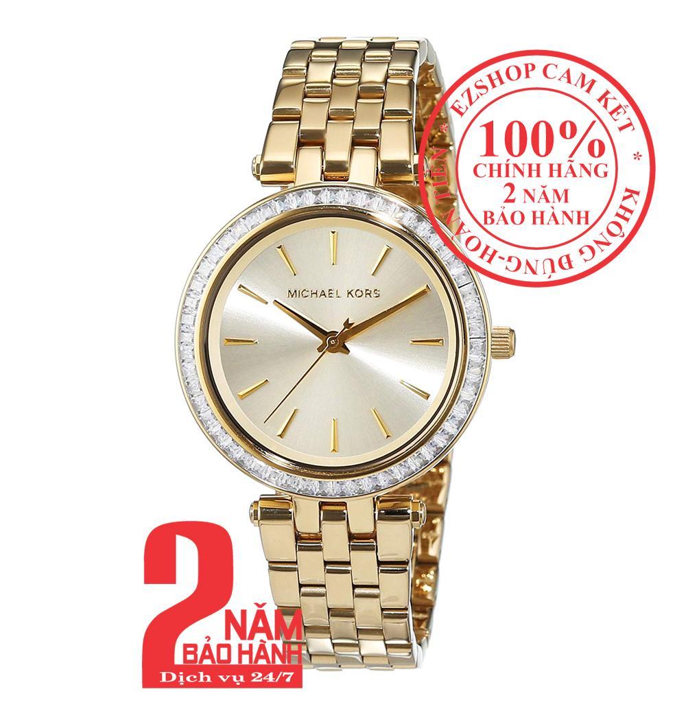 Nơi bán Đồng hồ nữ Michael Kors MK3365, Vỏ, mặt và dây màu Vàng (Gold), viền đá pha lê Swarovski, size 33mm