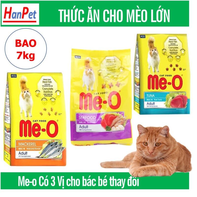 Hanpet -Me-o 7kg Thức ăn viên cho mèo lớn - CÁ NGỪ - CÁ THU - HẢI SẢN  dạng bao 7kg (gồm 20 gói) thức ăn  mèo trưởng thành (trên 1 năm tuổi)