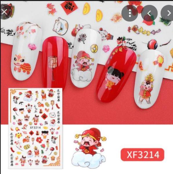 Miếng Dán Móng Tay 3D Nail Sticker Tráng Trí Hoạ Tiết Bông Hoa ,ngôi sao,chữ cái,hình gấu,hình lông vũ,hình báo(XF 3214)