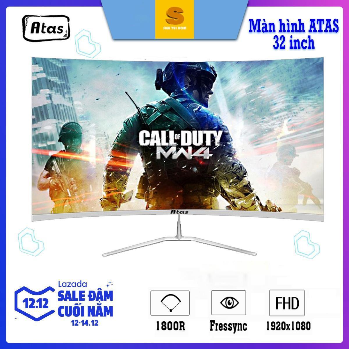 Giá [Có video ] - Màn Hình Máy Tính Gaming 32 inch siêu cong không viền Freesync Atas Q318 Plus - Full HD - Tần số 75Hz