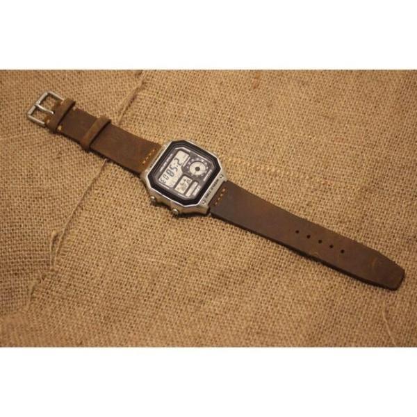 Dây đồng hồ Da Bò thật cho c_a_s_i_o AE1200 - size 18mm bán chạy