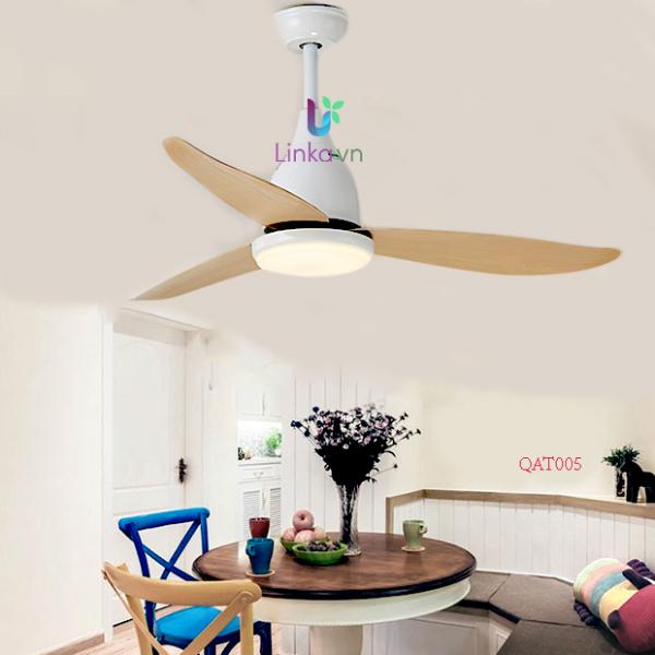 Quạt trần 3 cánh nhựa giả gỗ kết hợp đèn LED LINKA LI-QAT005 – kiểu dáng nhỏ gọn, dễ trang trí