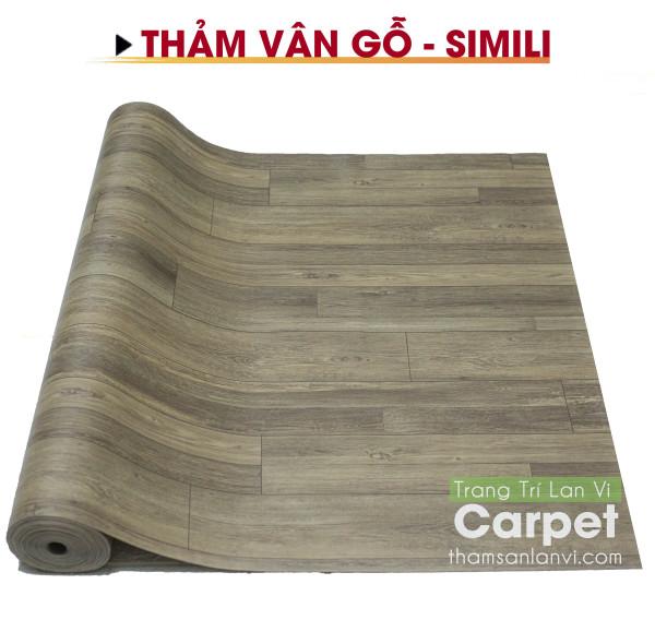 Thảm nhựa simili trải sàn nhà - vân gỗ xám nâu (gray brown) nhám - khổ 1m