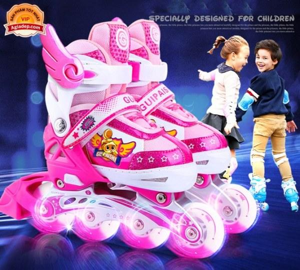 Phân phối Bộ Giày trượt Patin Cao cấp Gupaisy Bản Nữ có Ánh sáng - Full Mũ + Bộ bảo vệ + Túi + Quà - Giày Patanh xịn xuất Châu Âu