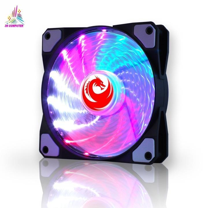 [HCM]Quạt tản nhiệt 12V Fan Case 12cm LED 7 Màu 9 cánh lớn cho lượng gió nhiều quạt chạy êm không ồn có đệm chống rung