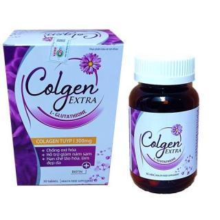 Viên uống Colgen Extgra, thành phần sâm maca Giúp đẹp da, bổ sung Vitamin A E C giảm thâm nám tàn nhang, ngừa nếp nhăn, chống lão hóa - Hộp 30 viên, hết nám, sạm da, đẹp da thumbnail