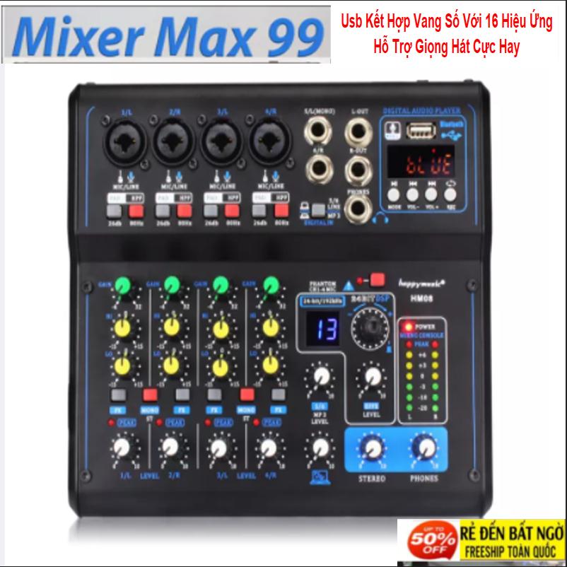 [PHIÊN BẢN MỚI] Bàn Mixer Số,Mixer Yamahaaa Max99 - Usb Kết Hợp Vang Số Với 16 Hiệu Ứng Hỗ Trợ Giọng Hát Cực Hay,Tính Năng Livestream,Kết Hợp Mọi Loa Kéo, Amply, Ghi Âm Máy Tính, Có Bluetooth Lấy Nhạc Tiện Lợi,Bh 1 Năm