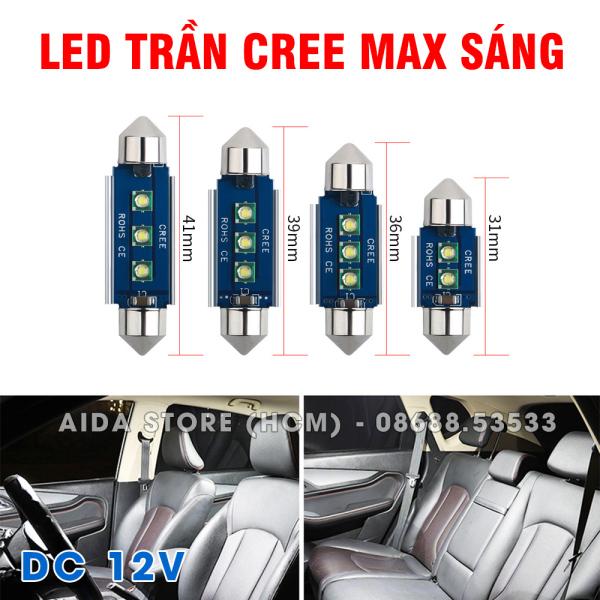 [HCM]Bóng LED đèn trần xe ô tô tản nhiệt xanh 2-3SMD CREE cực sáng - DC12v