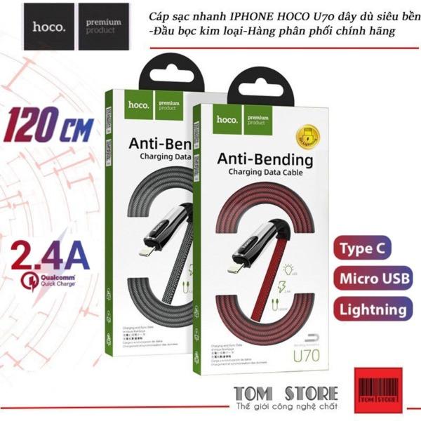 Cáp Sạc Hoco U70 type c, lightning, micro USB- Bảo hành 12 tháng