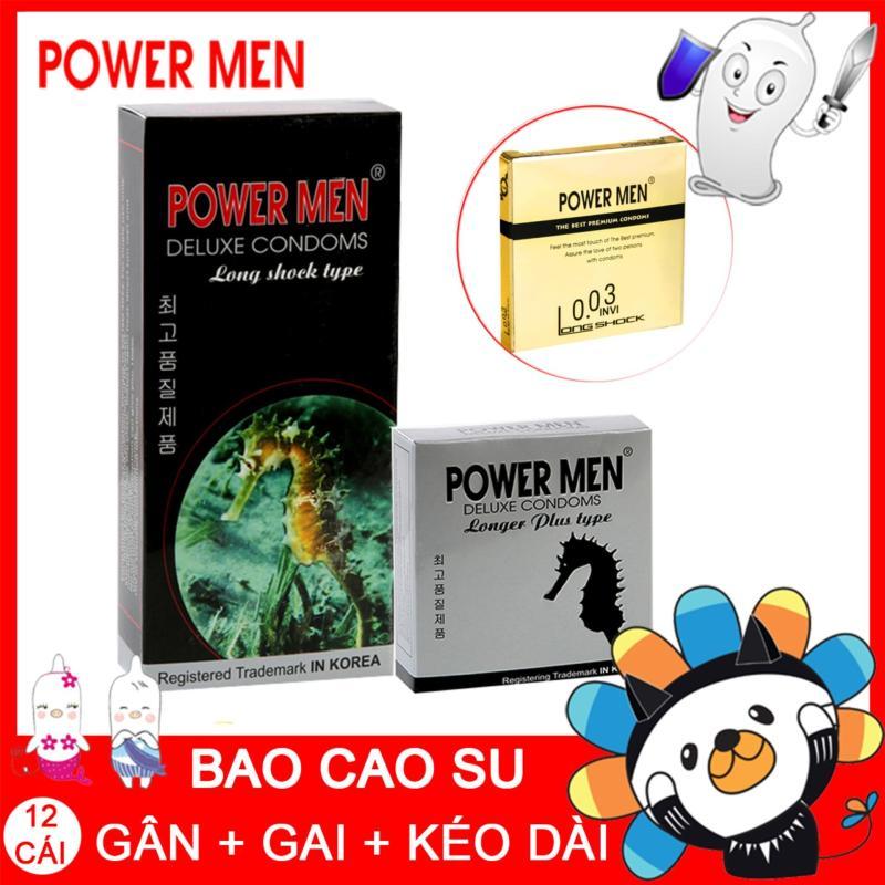 [Mua 1 Tặng 1] Bao cao su Powermen Longshock Hộp 12 Chiếc
