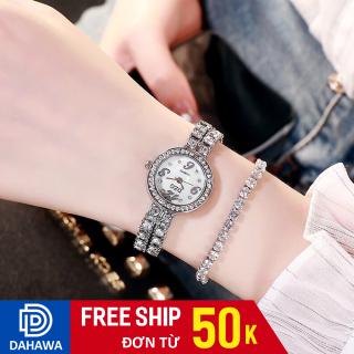 Đồng hồ thời trang nữ DZG D122, mặt tròn số chạy 3 kim, dây kim loại đính đá sang trọng, bảo hành 6 tháng thumbnail