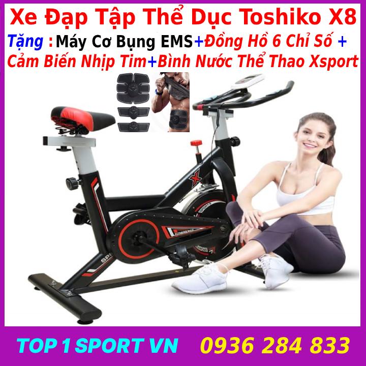 Máy đạp xe đạp tập thể thao thể dục tại nhà TOSHIKO X-SPEED tặng máy cơ bụng EMS, khung thép chịu lực 250 kg, bảo hành 36 tháng, tặng đồng hồ đo chỉ số + cảm biến nhịp tim + bình nước thể thao