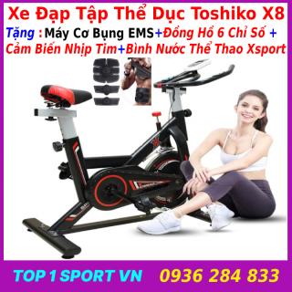 Máy đạp xe đạp tập thể dục thể thao tập gym tại nhà Toshiko X8 GH709 tặng máy mát xa tạo cơ bụng EMS + đồng hồ cảm biến nhịp tim + bình nước thể thao, bảo hành 3 năm thumbnail