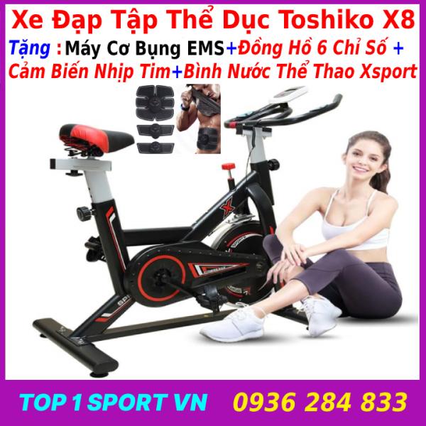 Máy đạp xe đạp tập thể dục thể thao tập gym tại nhà Toshiko X8 GH709  tặng máy mát xa tạo cơ bụng EMS + đồng hồ cảm biến nhịp tim + bình nước thể thao, bảo hành 3 năm