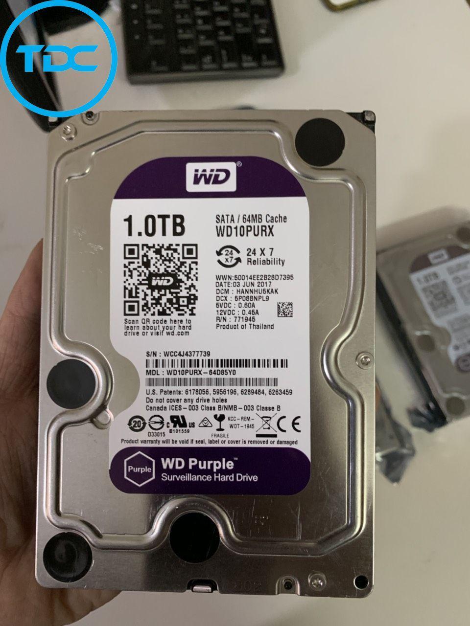 Giá Ổ cứng HDD 1TB WD PURPLE chuyên dùng cho đầu thu camera. Bảo hành 2 năm