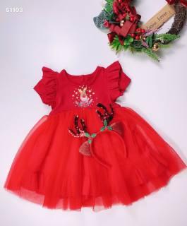 Váy đầm bé gái màu đỏ diện noel Tết chất nhung mềm tặng kèm cài đầu bờm tuần lộc cho bé từ 5kg đến 18kg