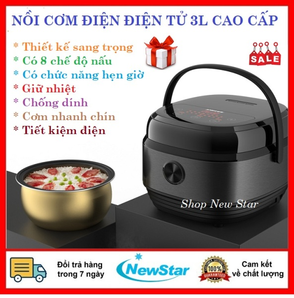 Nồi cơm điện gia đình đa năng 3 lít-Nồi cơm điện điện tử giá rẻ chống dính nấu cháo súp-hầm-nấu sữa chua- làm bánh-nấu cơm nhanh chín-hẹn giờ-lẩu tự sôi-nồi cơm tiết kiệm điện giá rẻ