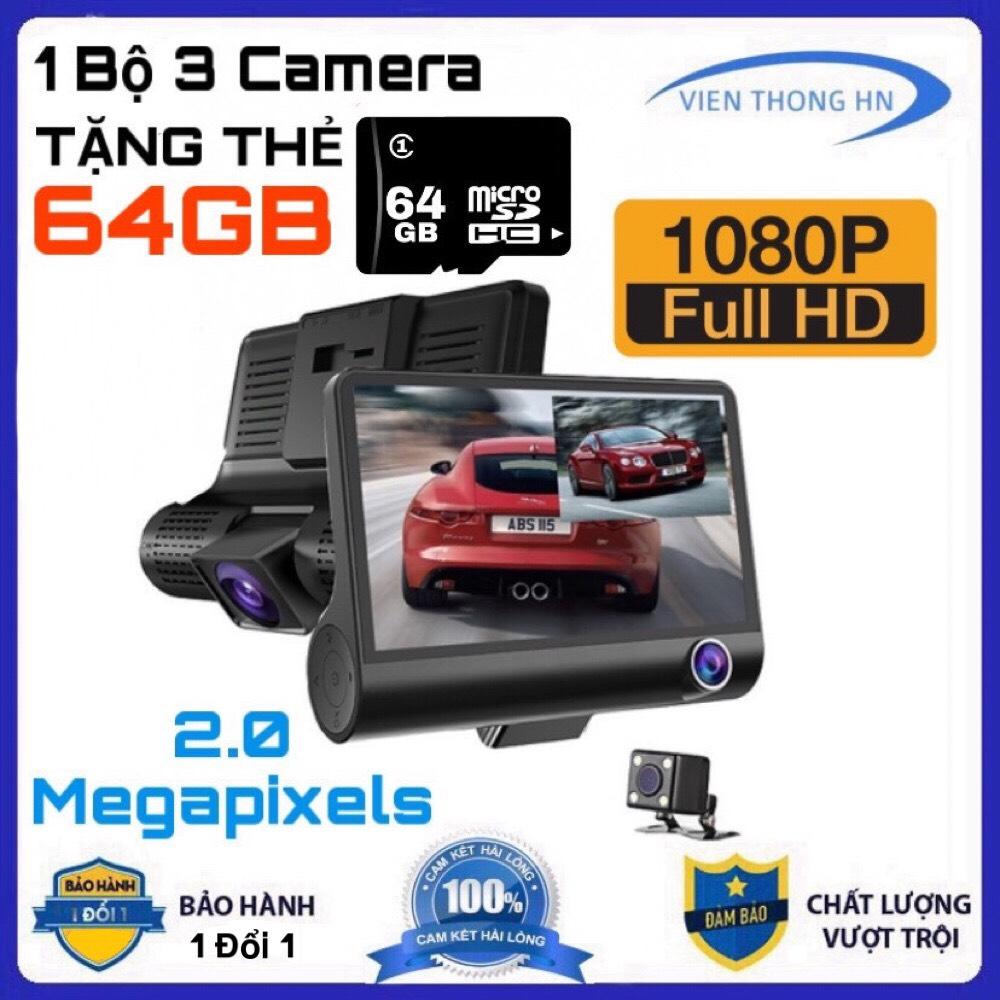 [TẶNG THẺ NHỚ 64GB] Camera hành trình ô tô 3 mắt camera full HD 1080 camera oto sau chống nước  camera trong xe trống chộm  ghi hình khi tắt máy  Tự động ghi hình nếu phát hiện chuyển động