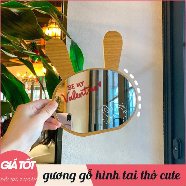 Gương, gương để bàn, gương gỗ, gương trang điểm tiện lợi, nhỏ gọn, kiểu dáng hình tai thỏ đáng yêu, mẫu mới, sang trọng, hiện đại, chất lượng cao giá rẻ