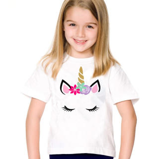 Áo phông trẻ em mùa hè Cô gái kỳ lân Phim hoạt hình Áo dài Phong cách thời trang Áo trắng ngắn tay áo thun Quần áo Unisex