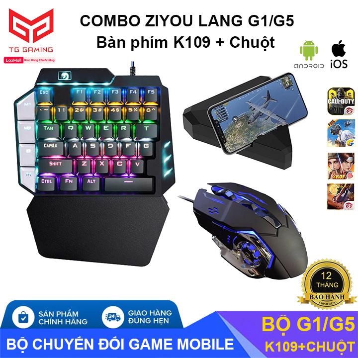 Combo Trọn Bộ Bàn Phím Cơ K109 + Bộ Chuyển Đổi G1 + Chuột chơi game PUBG Mobile cho Android, IOS, iPad như PC - Hãng phân phối chính thức