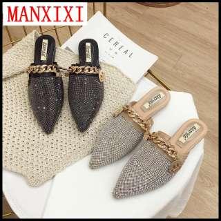 MANXIXI Xăng Đan Mules Đẹp Thời Trang Thương Hiệu Dép Đế Bằng Giày Bạc Đen Cho Nữ (Cỡ 35-43)