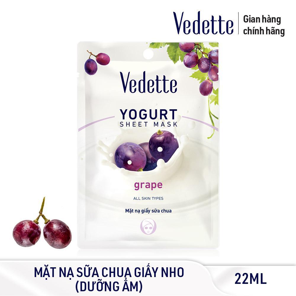 Mặt nạ giấy sữa chua dưỡng ẩm mịn màng Nho Vedette Yogurt Sheet Mask Grape 22ml nhập khẩu