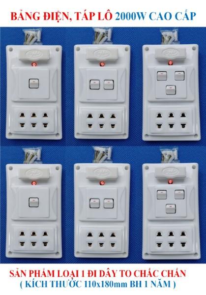 Bảng điện, Táp lô 2000W CAO CẤP + BH 1 năm + 1/2/3 Công tắc + 3 Ổ cắm nhíp chống giãn + 1 Cầu chì chống quá tải + 1 Đèn LED báo + Đi dây TO sẵn sàng đầy đủ + Bộ ốc vít lắp đặt HÀNG LOẠI 1 cao cấp (bộ 01 sản phẩm) giá rẻ
