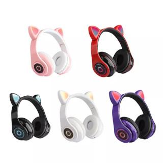 TAI NGHE BT CAT EAR HXZ-B39 LED- Tai Nghe Chụp Tai Mèo Không Dây, Có Đèn Led, Có Thể Gập Lại, Điều Khiển Âm Lượng- 7 màu sắc đèn LED- Chất liệu vỏ ABS + PU- Bảo hành 12 tháng thumbnail