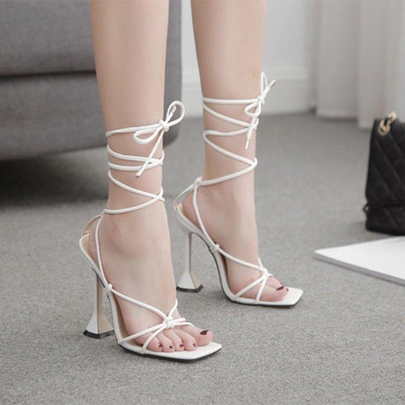 (Bảo hành 12 tháng)Giày sandal cao gót nữ quai mảnh phối dây đan chéo - Giày cao gót nữ 9cm - Giày nữ da mềm cao cấp - Linus LN304 giá rẻ