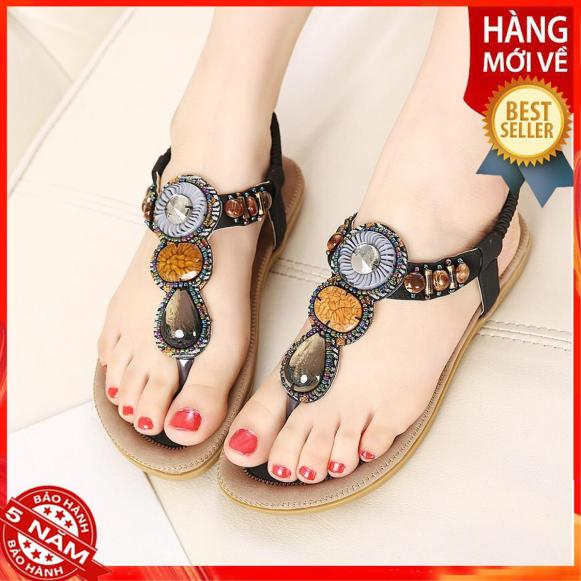 Sandal đính đá thổ cẩm cao cấp - 15LA giá rẻ