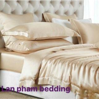 Ga - Drap Giường Lẻ Phi Lụa Lan Pham Bedding - Màu Vàng Kem thumbnail