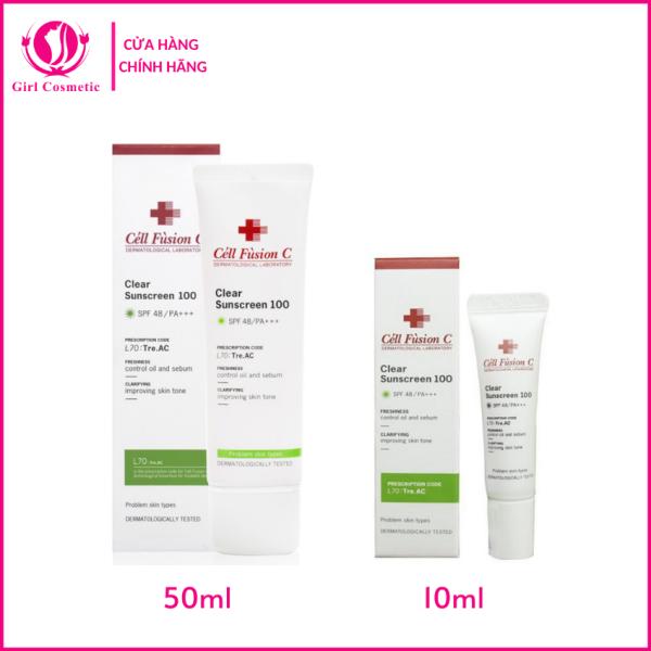 Kem chống nắng Cell Fusion C Clear Sunscreen 100 cho da dầu mụn, da nhạy cảm cao cấp
