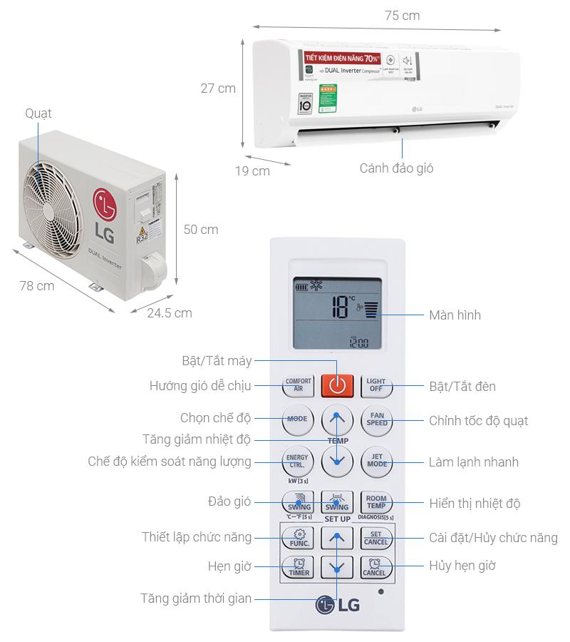 Bảng giá Máy lạnh LG Inverter V10ENW- 1HP