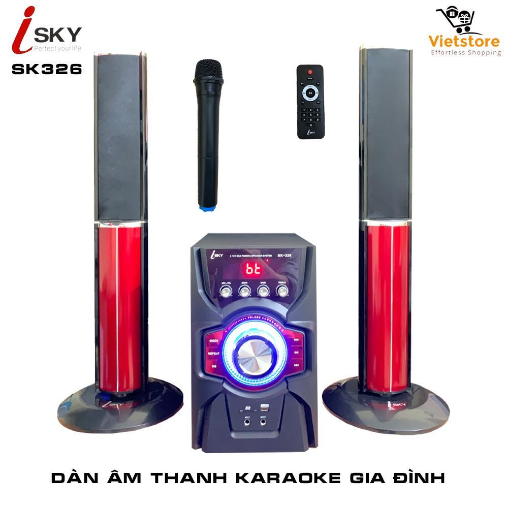 [Miễn Phí Vận Chuyển] Dàn âm Thanh Khủng Tại Nhà - Dàn Karaoke Gia đình- Kết Nối Tivi , Iphone, Ipad, Smartphone  - Loa Vi Tính Cỡ Lớn  âm Thanh Hifi Siêu Bass đỉnh Cao Có Kết Nối Bluetooth USB Thẻ Nhớ Isky - SK326 (Tặng Kèm Micro Không Dây) Giá Siêu Rẻ
