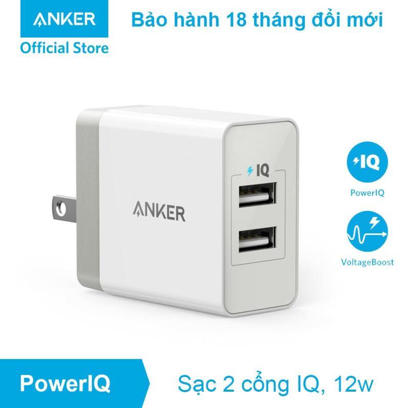 Sạc ANKER PowerPort 2 Lite 2 cổng PowerIQ 12w - A2129