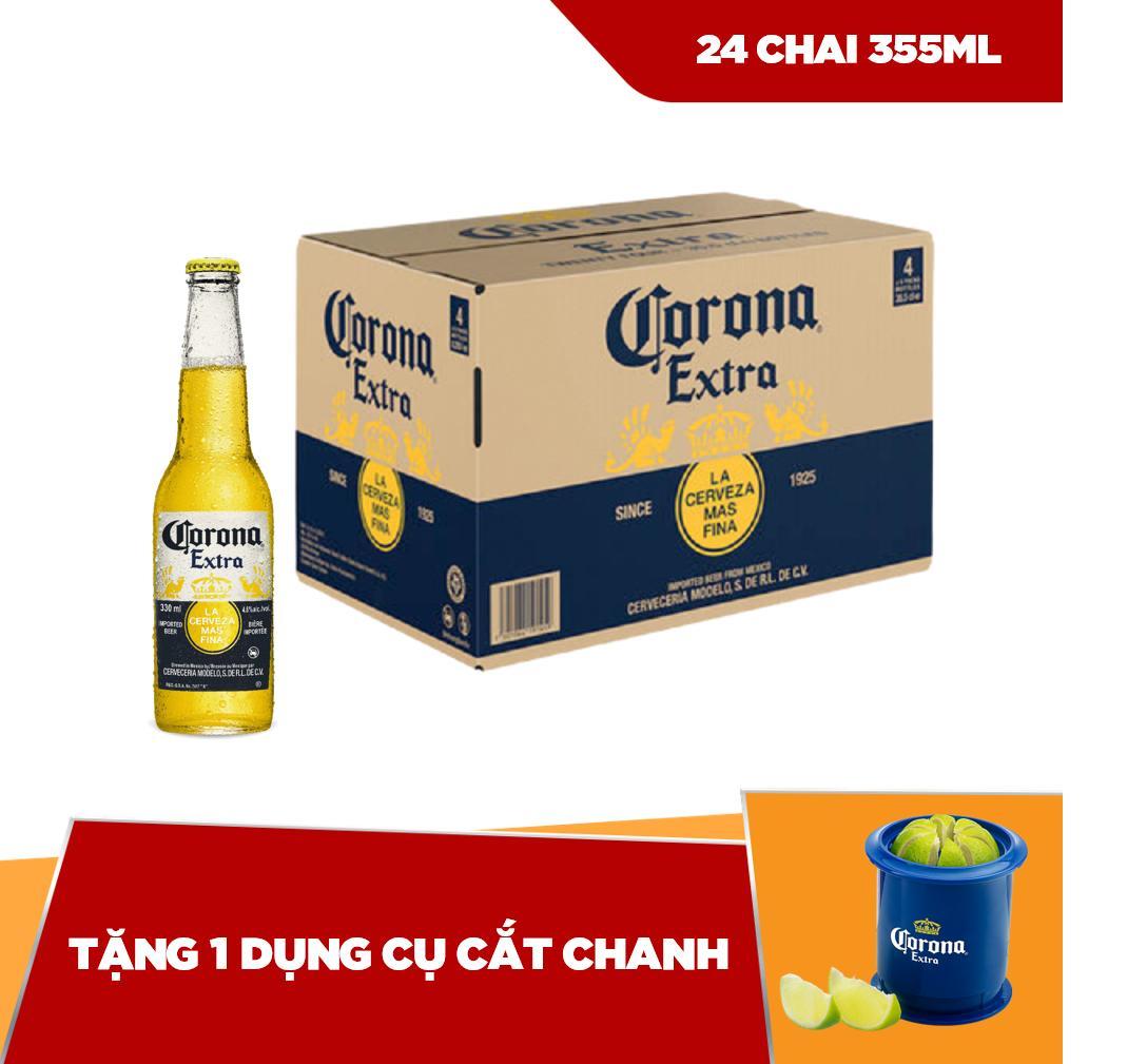 Corona Extra chai 355ml - thùng 24 tặng 1 dụng cụ cắt chanh Nhật Bản
