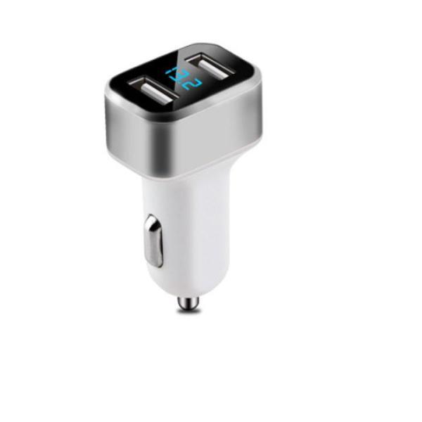 Sạc Ô Tô Đầu Ra 2 USB 5VDC 2.4 A Có Đồng Hồ Hiển Thị Điện Áp Đầu Vào - Màu Bạc
