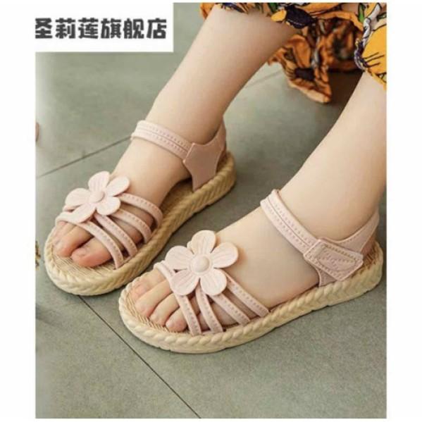 Giày sandal giả cói đính hoa thoải mái đi mưa có size cho mẹ và bé giá rẻ