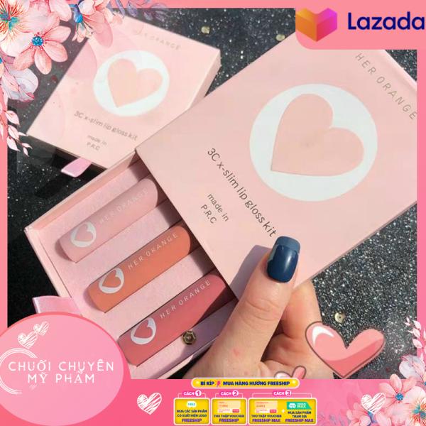 Full Set 3 Cây Son Herorange Vỏ Hồng Phấn 3Cx - Slim Lip Gloss Kit | Set son môi kem lì phiên bản trái tim 3 màu Herorange dưỡng môi, không trôi, son môi giá rẻ đẹp giá rẻ