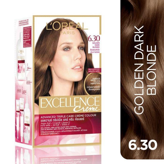 Thuốc nhuộm tóc Phủ Bạc Loreal Excellence Creme # 6.30  Golden Dark Blonde ( Nâu Ánh Vàng ) Tặng nón trùm tóc nhập khẩu