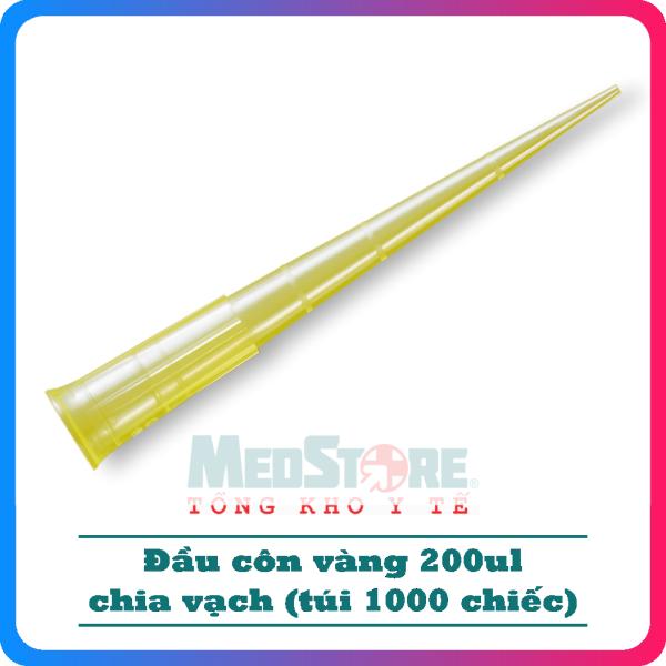 Đầu côn vàng chia vạch (pipet tip) 200ul dùng thí nghiệm (túi 1000 chiếc) - TBYT Medstore cao cấp